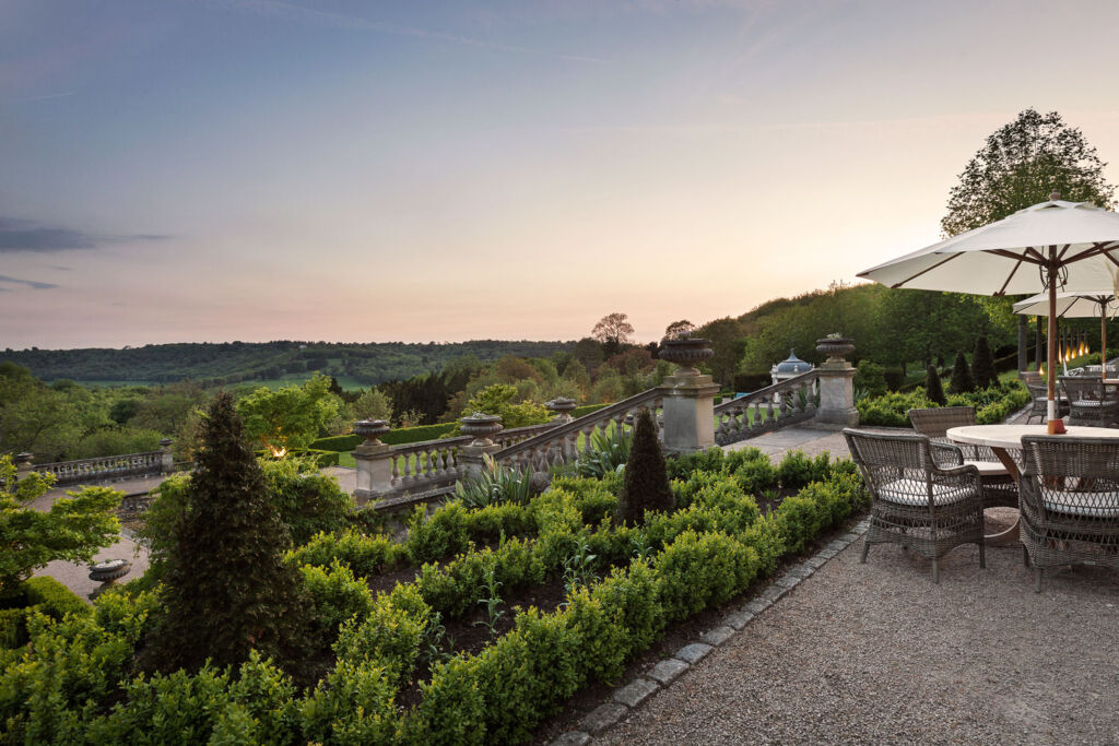 The Beaverbrook terrace at dusk, perfect for alfresco dining