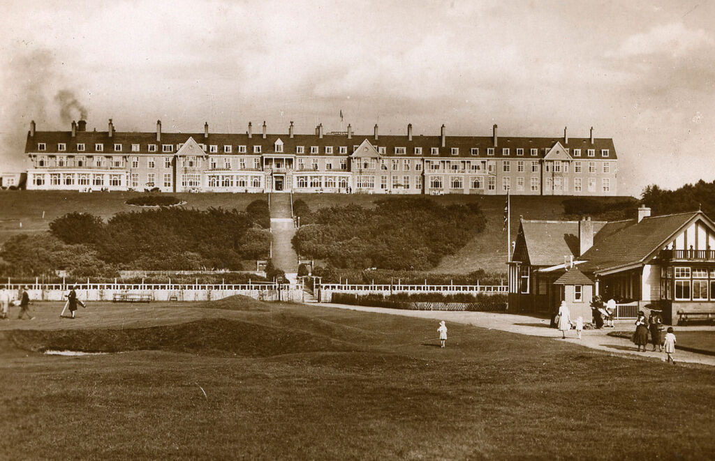 A black and white photo showing the early days of the hotel