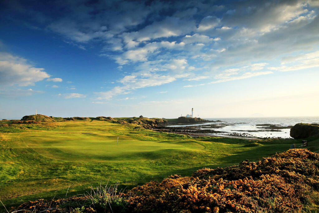 A view over one of the world famous golf holes at Trump Tunberry