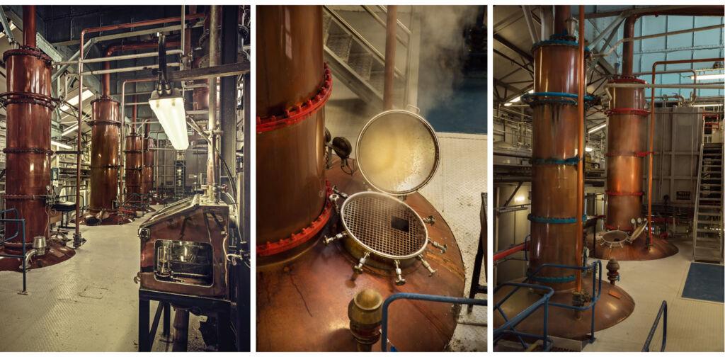 The stills at the Loch Lomond distillery