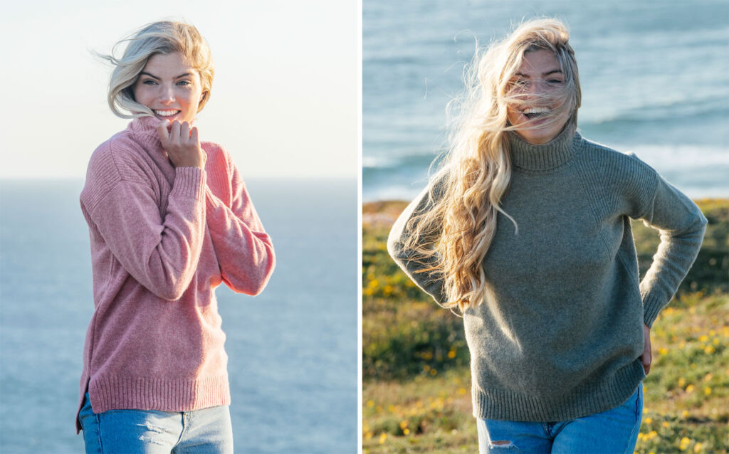 Models wearing two styles of the brand's jumpers outdoors