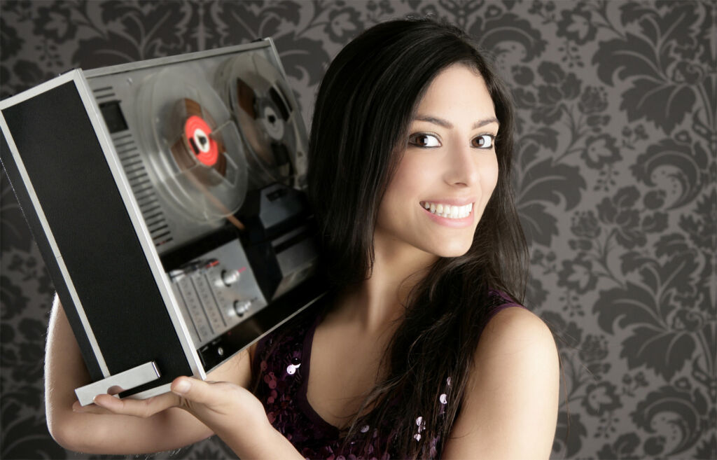Woman playing loud music on her boombox