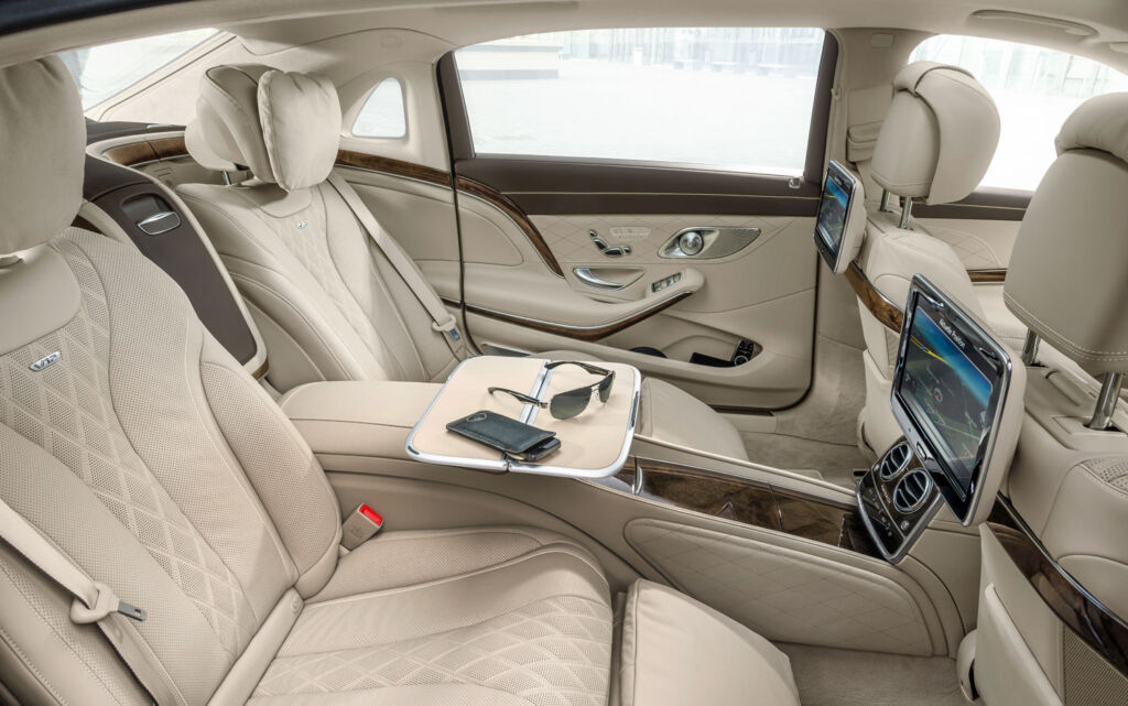 The luxurious reclining rear seats inside a Maybach
