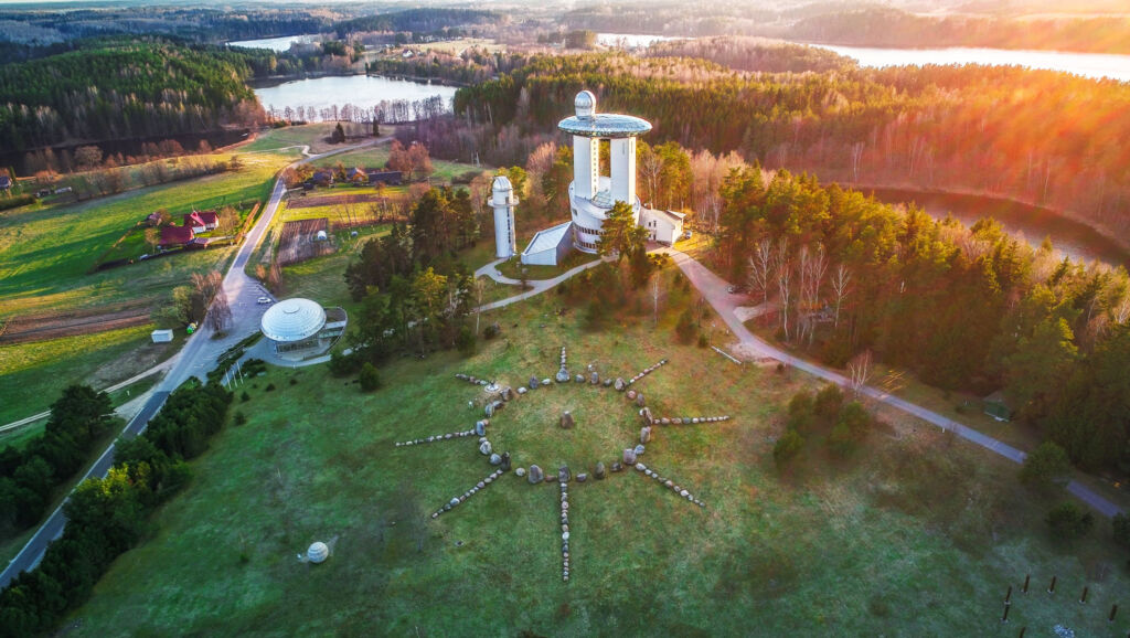 Aerial view over the Lithuanian Museum of Ethnocosmology