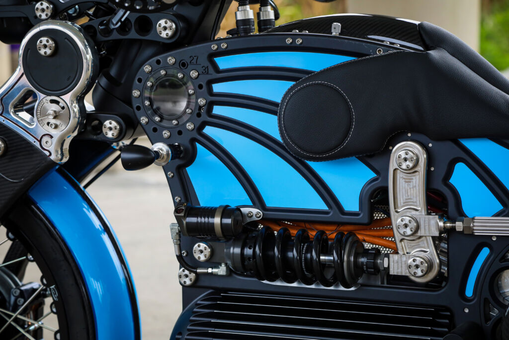 A close up view of the side of the electric motorcycle