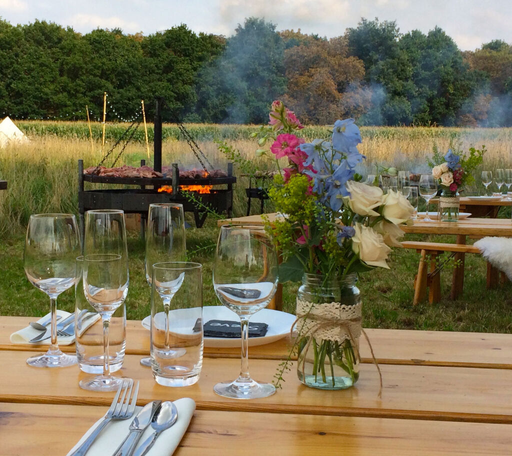 Alfresco dining at Home Farm Glamping