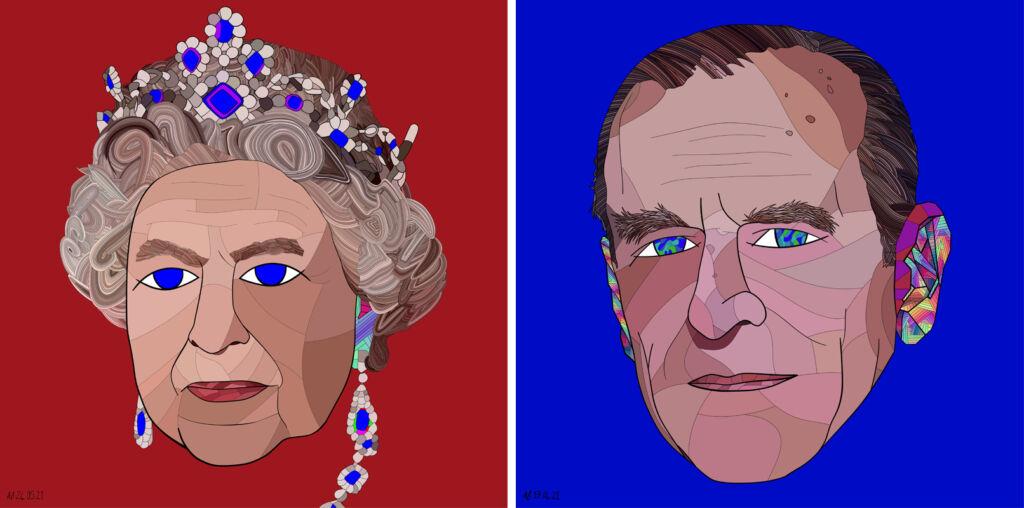 Queen Elizabeth II and Prince Philip in an NFT artwork
