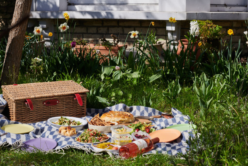 The contents of the picnic kit being enjoyed in the garden