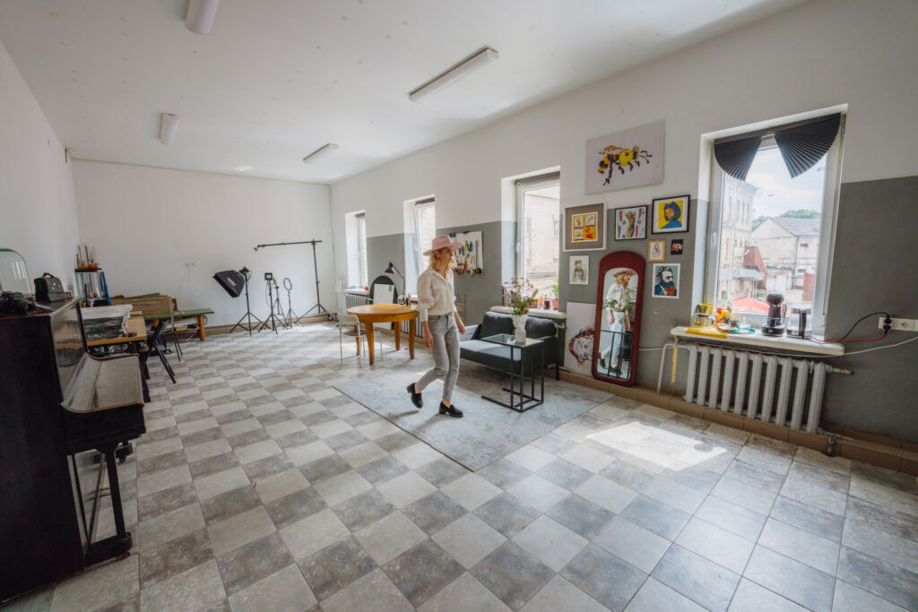 Artist Jolita Vaitkute in her studio which was once the prison canteen