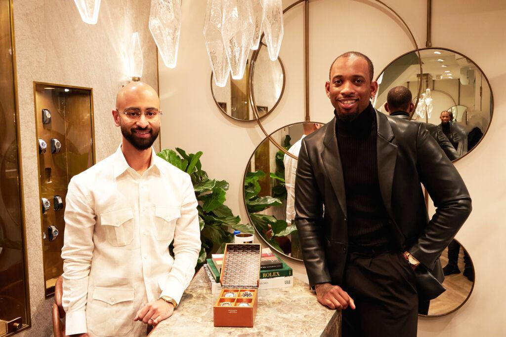 Award winning designer Stephen Arthur (r) officially opened Danny Shahid's flagship DWL store in Burlington Arcade.