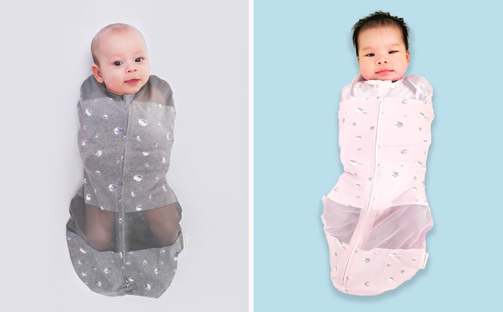 Babies wrapped in Sleepea Swaddles
