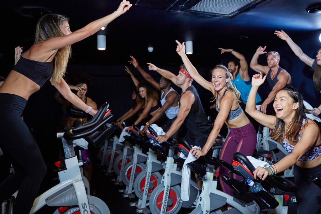 An enthusiastic group enjoying a Boom Cycle Class
