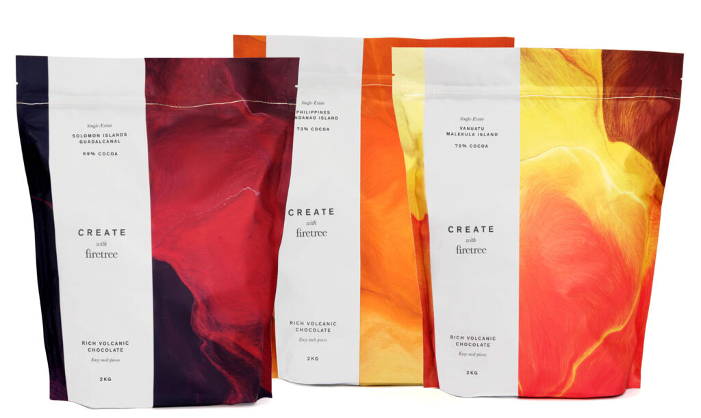 Three varieties of Create with Firetree 2kg bags of chocolate