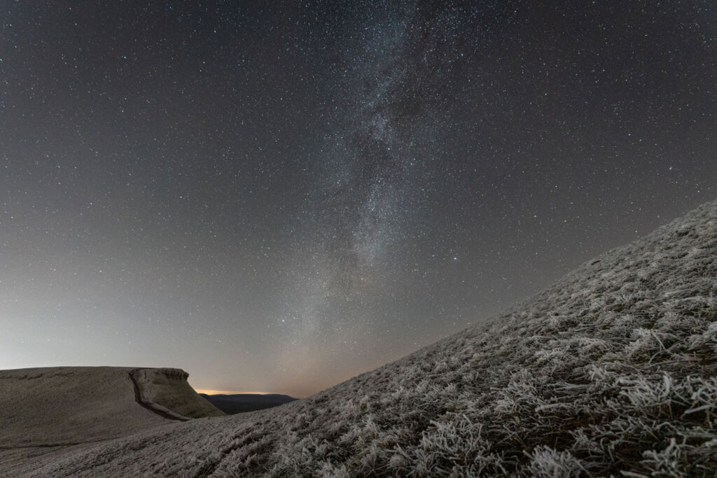 The beautiful English countryside at night showing an amazing array of stars