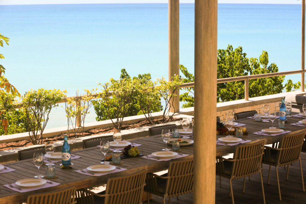 Dinner on one of the terraces at Pearns Bay House
