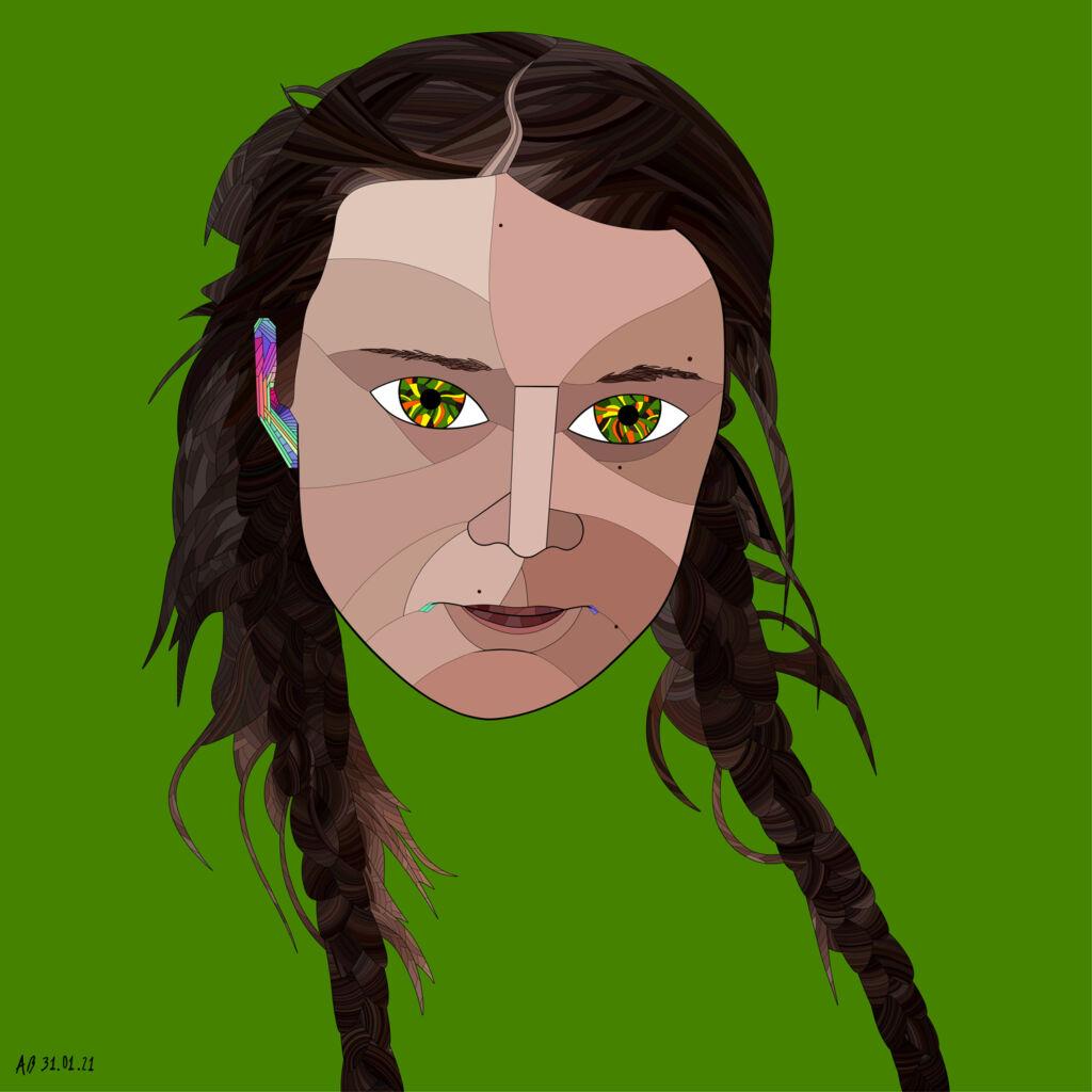 An NFT artwork of Greta Thunberg