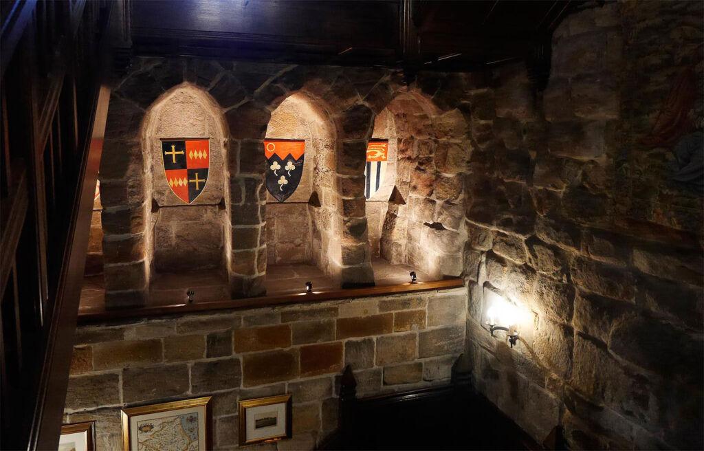 Inside Langley Castle at night