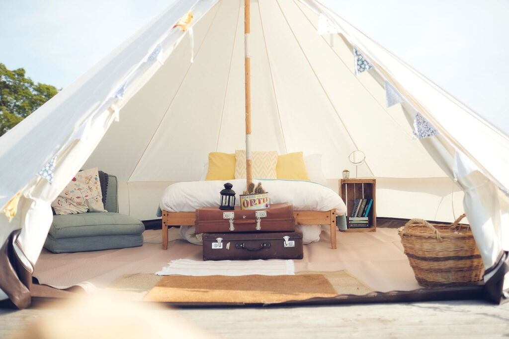 Inside a Bell Tent at Home Farm Glamping