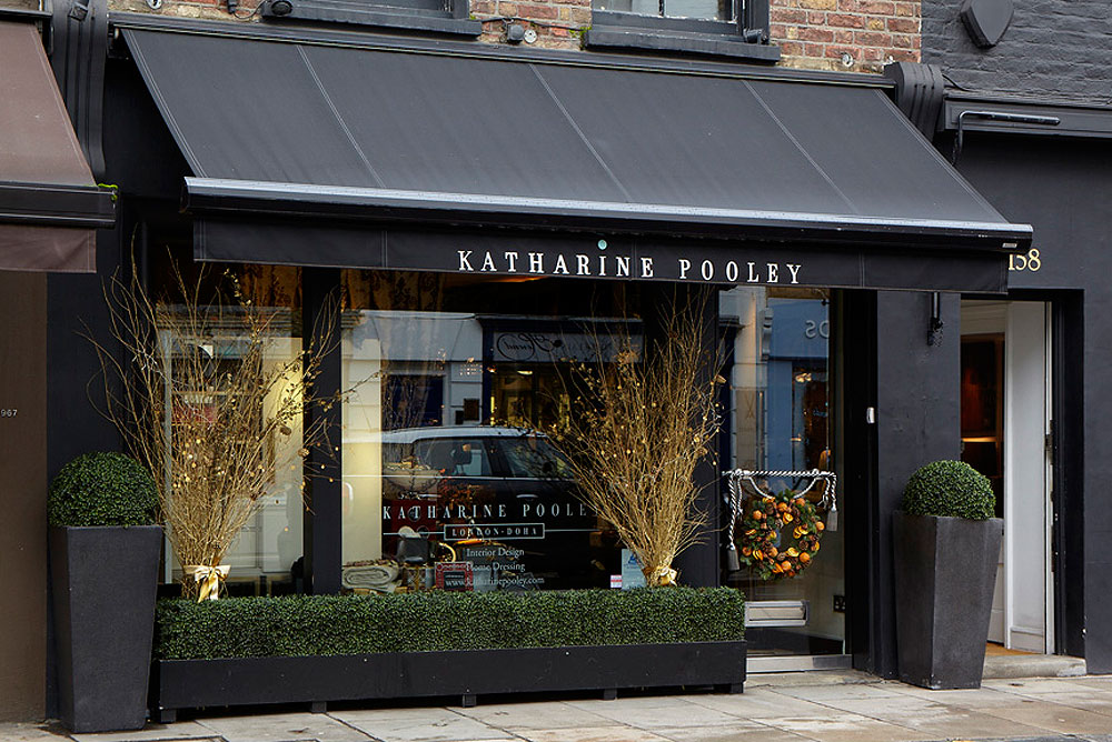 Outside the Katharine Pooley Boutique in Walton Street, London.