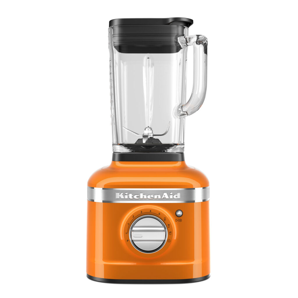 A close up view of the honey coloured KitchenAid Artisan blender