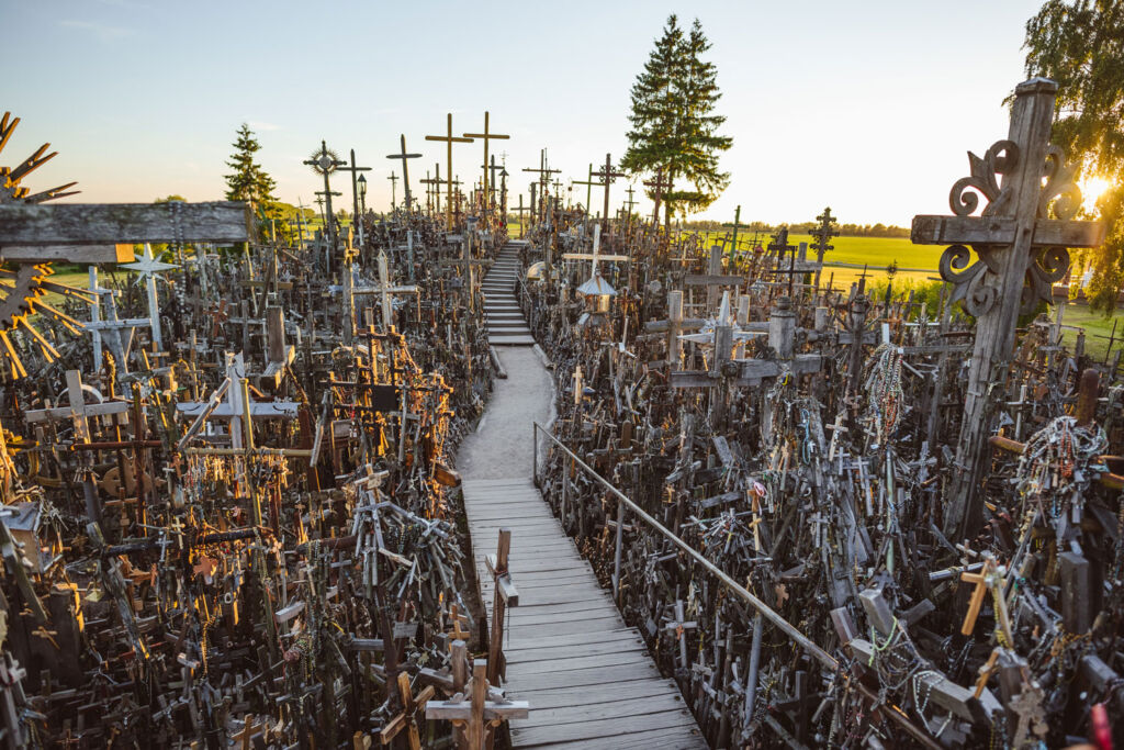 The wooden pathway up through the Hill of Crosses