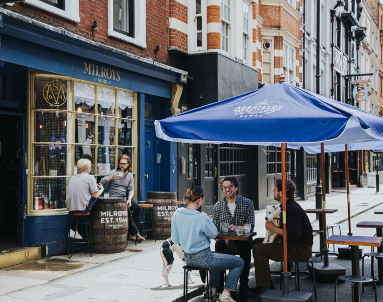 People outdoors at Milroy's terrace