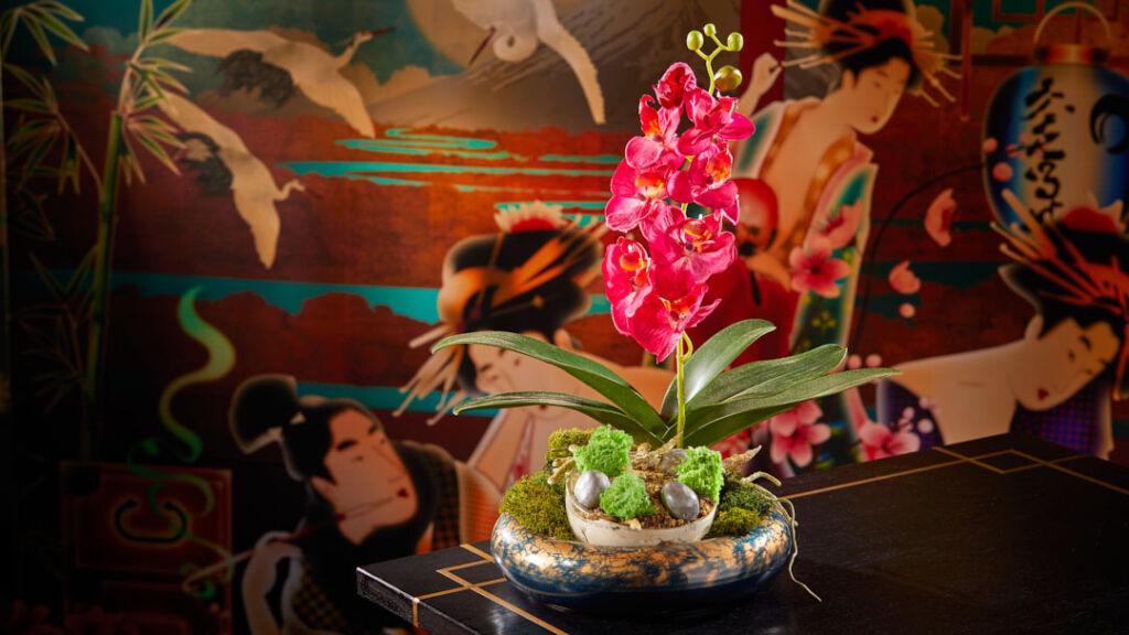 Orchid in the beautifully decorated restaurant