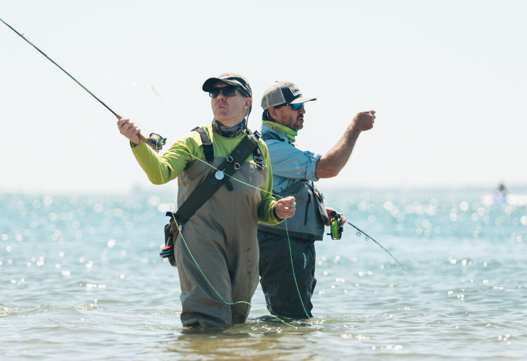 An angler being guided by one of the experts