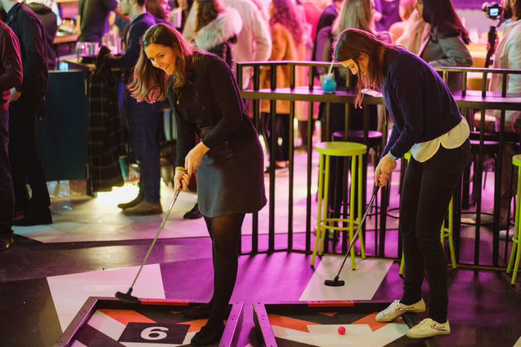 Playing Crazy Golf at Battersea Power Station