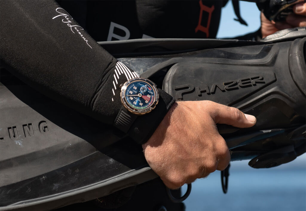 Greg Lecoeur wearing the timepiece before heading off underwater