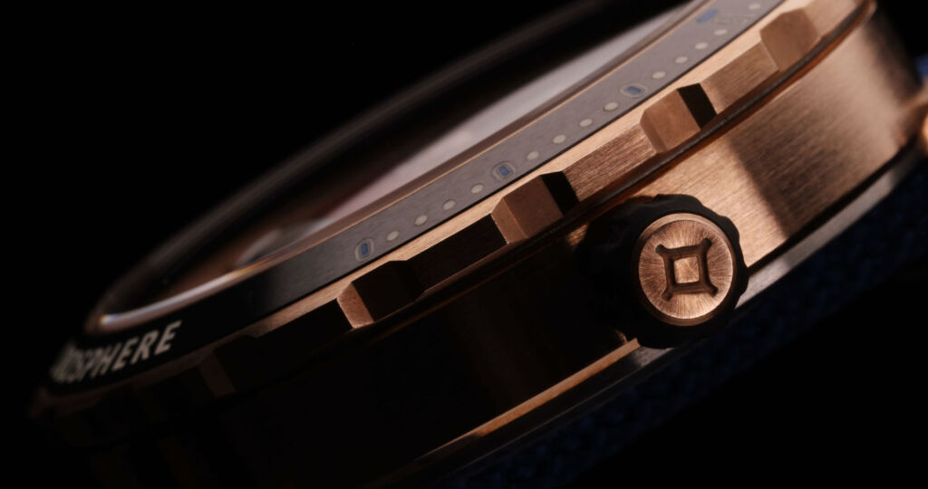 A close up view of the watch bezel
