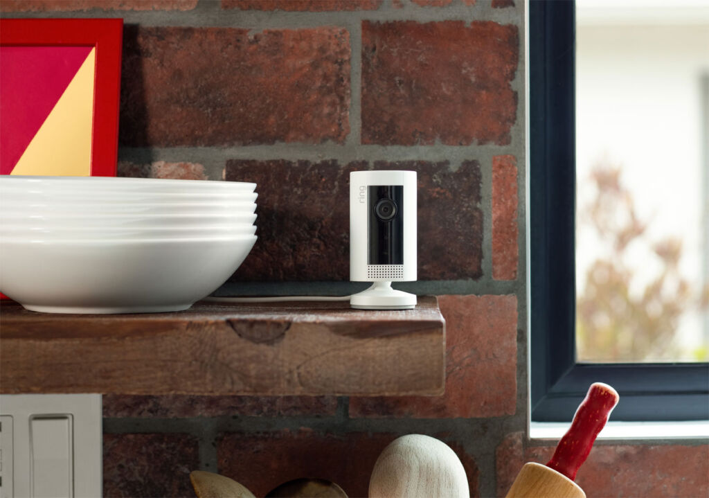 The indoor cam monitoring movement from a kitchen shelf