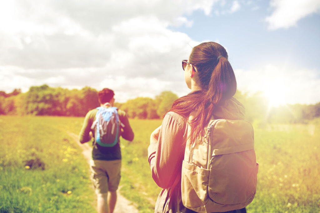 A young couple hiking to boost adrenaline levels
