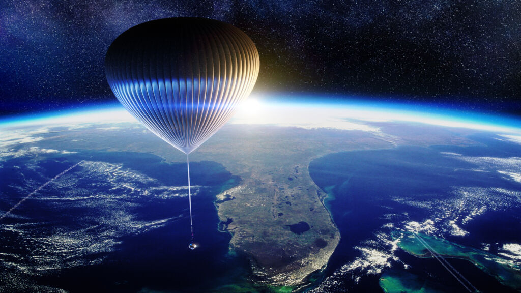 The balloon propelling the capsule