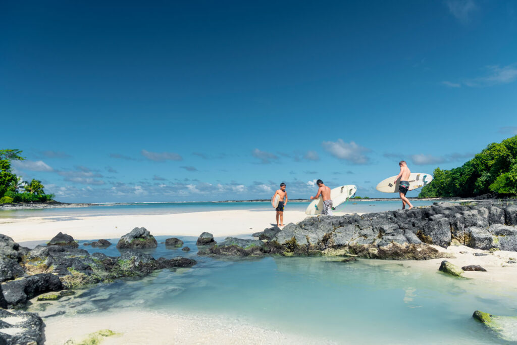 Kids playing on the beautiful white sandy beaches