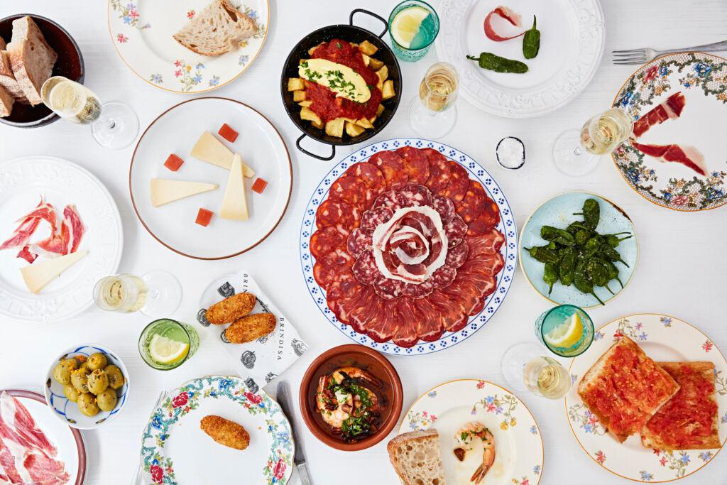 A table of food at Tapas Brindisa Battersea