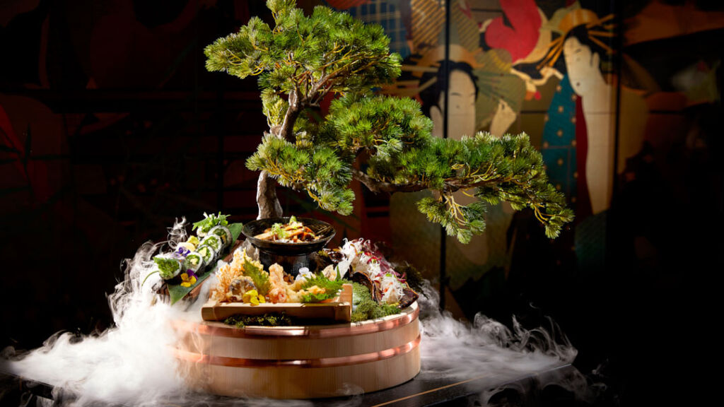 A Bonsai tree which is used to serve specific dishes