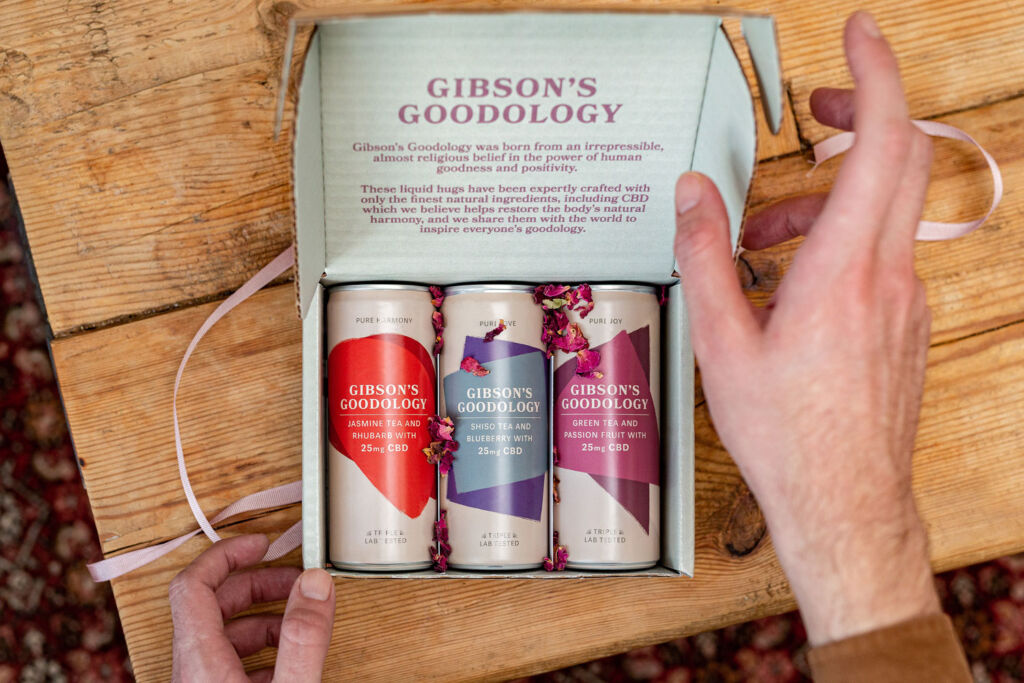 The Gibson's box containing the three drink flavours
