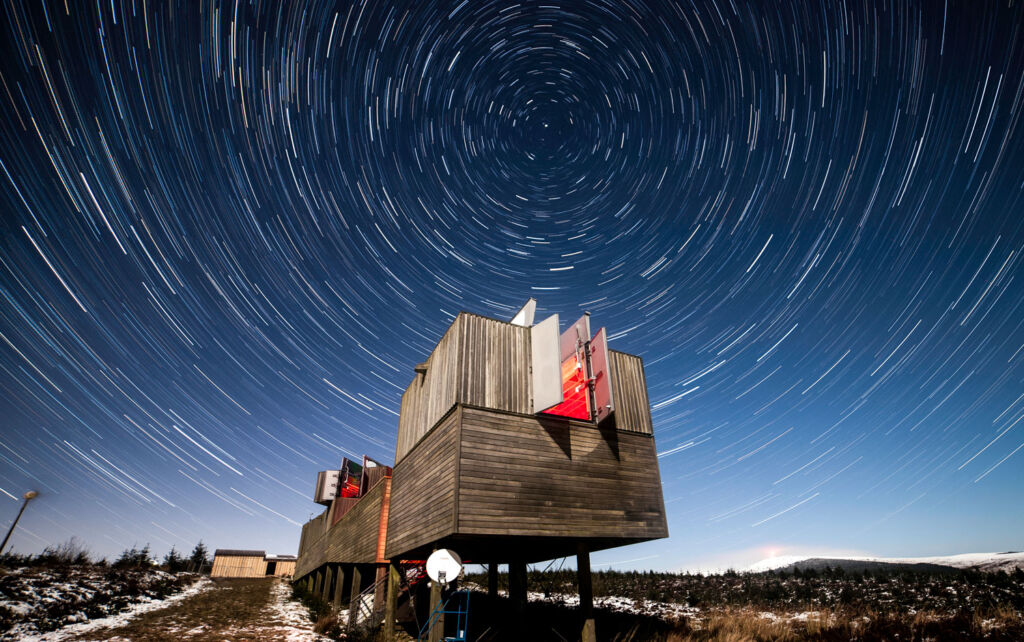 A time-lapse photograph of the stars above the Kielder Observatory