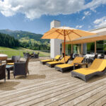 One of the Penthouse Suite terraces at the Kempinski Hotel Das Tirol which offers astonishing views