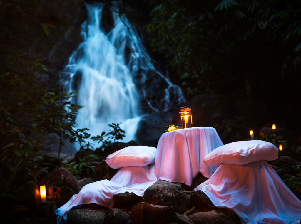 The Sarojin Cares Gastronomy package waterfall dinner
