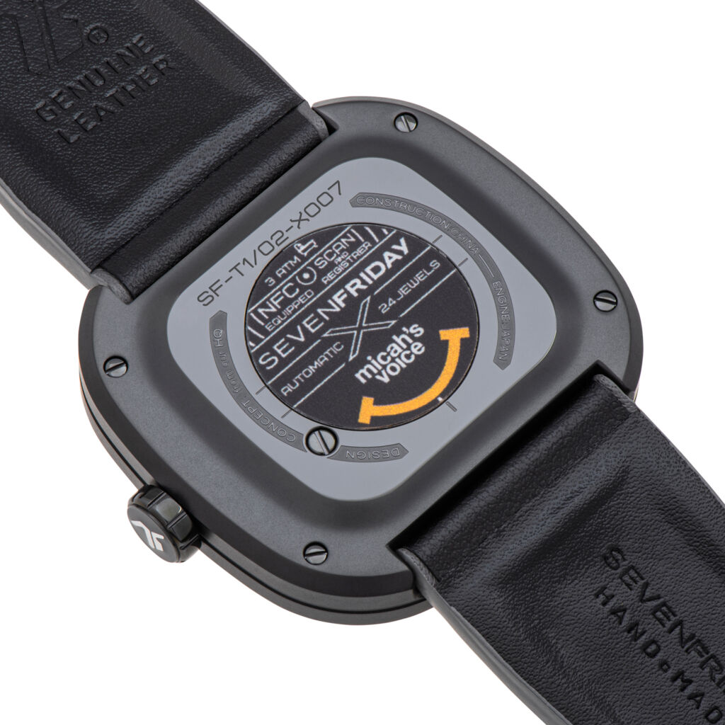 A closeup view of the rear of the watch showing the orange smile