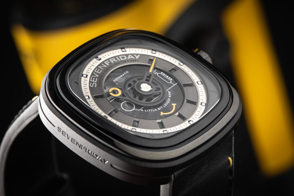 A closeup view of the watch dial