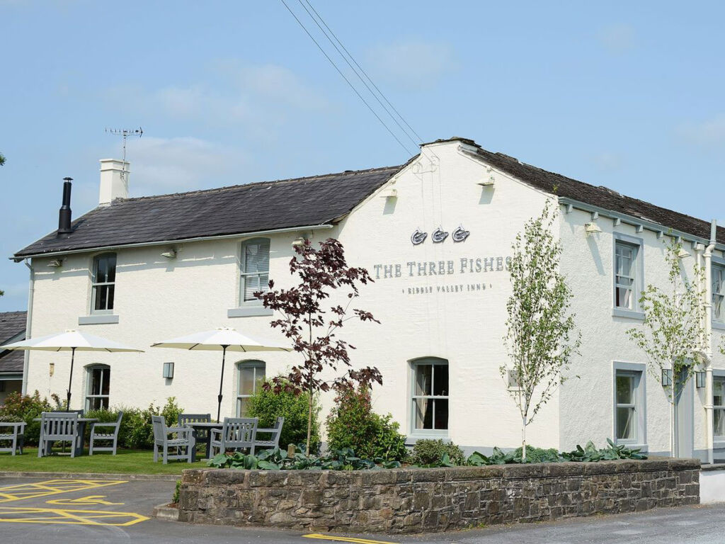 The exterior of The Three Fishes public house and restaurant