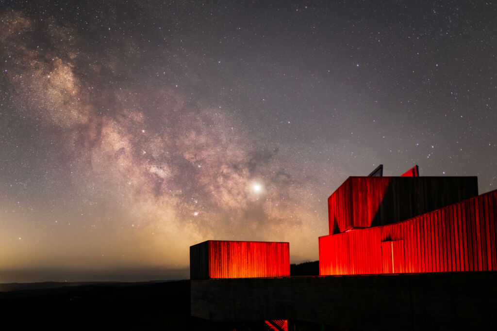 The exterior of the Kielder Observatory at night