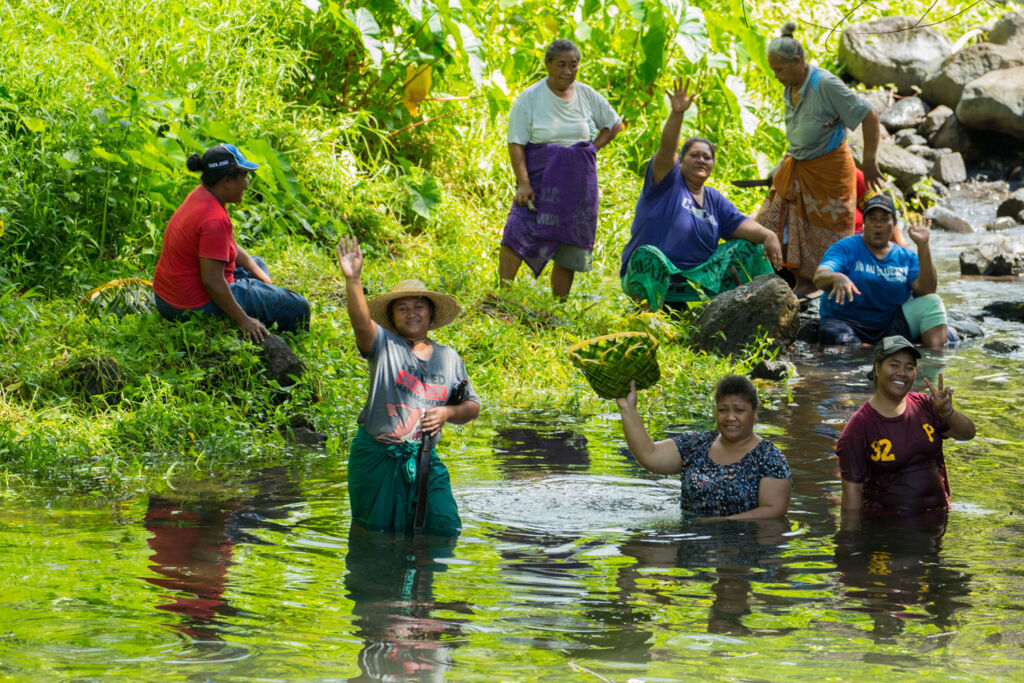 Locals washing fruit in the fresh water streams