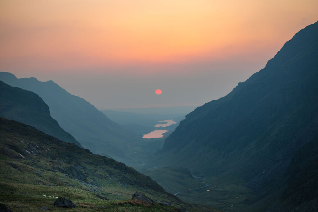 The view from Mount Snowdon at sunset