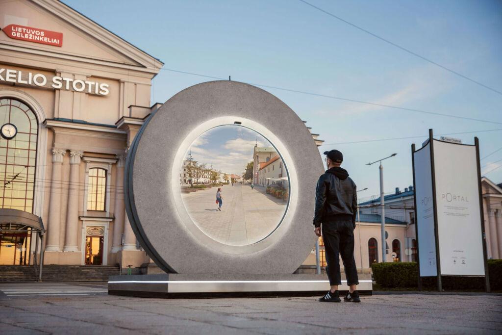 A man using the teleportation portal in Vilnius