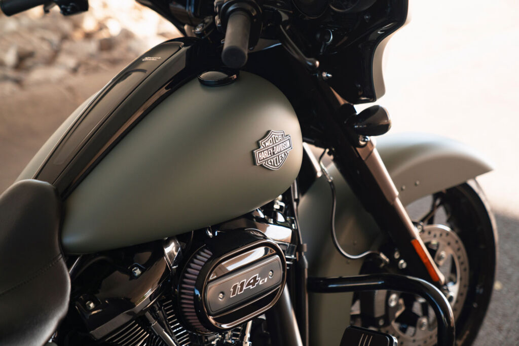 The Harley-Davidson badge sitting proudly on the Street Glide Special's tank