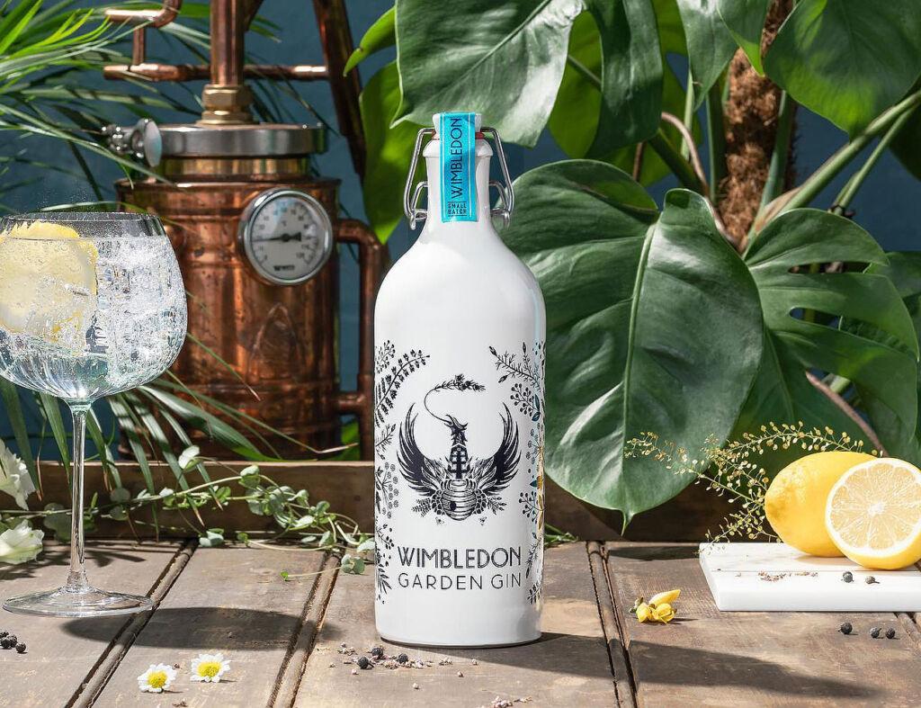 A bottle of Wimbledon Garden Gin on a table